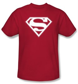 Image of Superman Logo Kids T-Shirt Red & White Shield Red Tee Youth