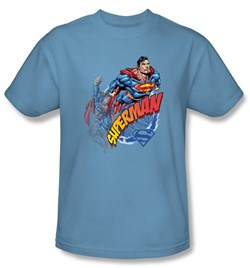 Image of Superman Kids T-shirt Up Up And Away Youth Carolina Blue Tee