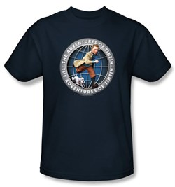 Image of Adventures Of Tintin Kids T-Shirt Globe Youth Navy Blue Tee Shirt