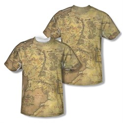 Image of The Lord Of The Rings Middle Earth Map Sublimation Kids Shirt Front/Back Print