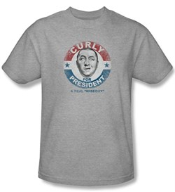 Product Image of Three Stooges Kids Shirt Curly For President Athletic Heather T-shirt