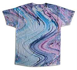 Image of Tie Dye T-shirt Marble 10 Retro Vintage Purple Blue Adult Tee Shirt
