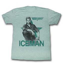 Top Gun Shirt Iceman Adult Heather Green Tee T-Shirt