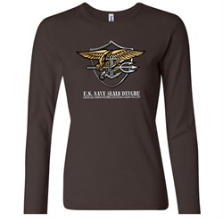 U.S. Navy Seal Shirt Devgru Ladies Long Sleeve Tee T-Shirt