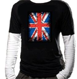 Union Jack Shirt UK Flag Big Print Adult Long Sleeve Shirt in Shirt