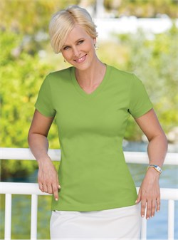 Port Authority Ladies V-Neck Shirt Modern Stretch Cotton Tee