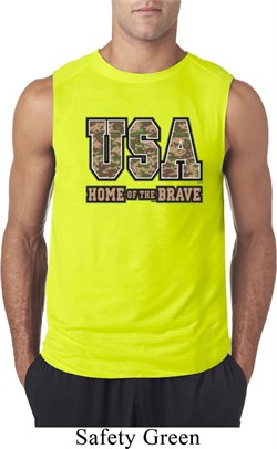 USA Home of the Brave Mens Sleeveless Shirt
