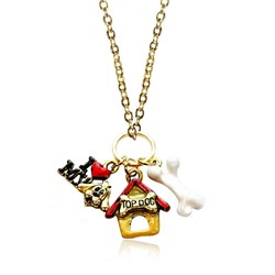 Dog Lover Charm Necklace in Gold 1000G-NL
