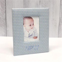 Gingham Check Personalized Baby Picture Frame F8R-9