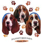 Basset Hound T-Shirt Puppies and Paws