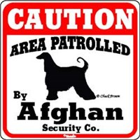 Image of Afghan Hound Caution Sign