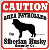 Siberian Husky Caution Sign