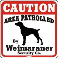 Weimaraner Caution Sign