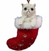 Persian Cat Stocking Christmas Ornament