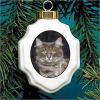 Cat in Pearls Christmas Ornament Porcelain