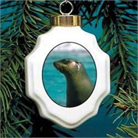 Seal Christmas Ornament Porcelain