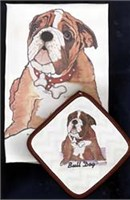 Bulldog Dish Towel & Potholder