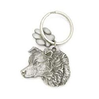 Border Collie Pewter Key Chain