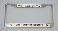 Irish Water Spaniel License Plate Frame - Chrome
