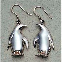 Penguin Earrings Sterling Silver
