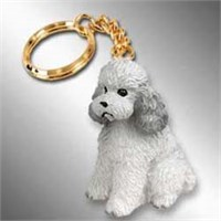 Gray Poodle Keychain