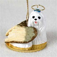 Maltese Christmas Ornament Angel