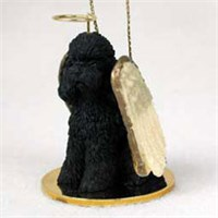 Poodle Christmas Ornament Angel (Black)
