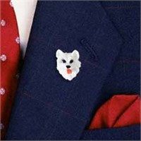 American Eskimo Dog Pin Hand Painted Resin