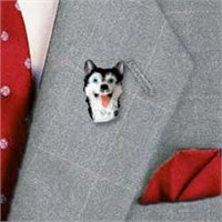 Siberian Husky Pin Hand Painted Resin