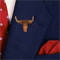 Long Horn Cow Pin Hand Painted Resin