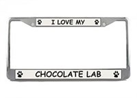 Chocolate Lab License Plate Frame