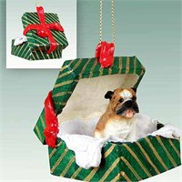 Bulldog Christmas Ornament Gift Box