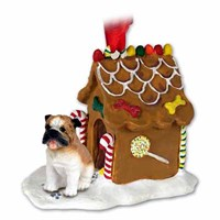 Bulldog Christmas Ornament Gingerbread House