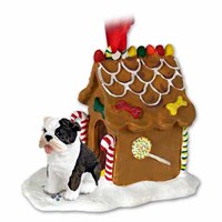 Bulldog Christmas Ornament Gingerbread House Brindle