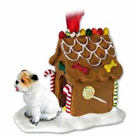 Bulldog Christmas Ornament Gingerbread House White