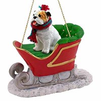 Bulldog Christmas Ornament Sleigh Ride White