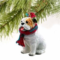 Bulldog Christmas Ornament White