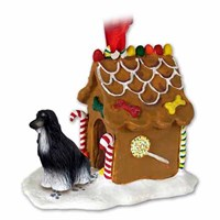 Afghan Hound Gingerbread House Christmas Ornament Black-White
