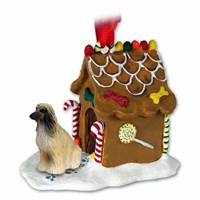 Afghan Hound Gingerbread House Christmas Ornament Tan-White