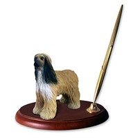 Afghan Hound Pen Holder Tan & White