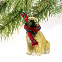 Afghan Hound Tiny One Christmas Ornament Tan-White