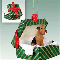 Airedale Terrier Gift Box Christmas Ornament