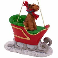 Airedale Terrier Sleigh Ride Christmas Ornament