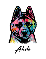 Akita T Shirt Colorful Abstract