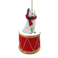 American Eskimo Dog Little Drummer Christmas Ornament