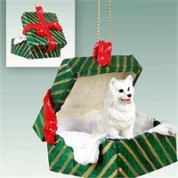 American Eskimo Dog Gift Box Christmas Ornament