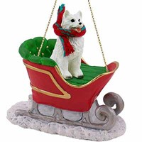 American Eskimo Dog Sleigh Ride Christmas Ornament
