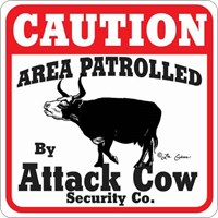 Cow Attack Sign