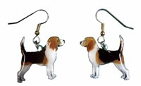 Beagle Earrings Hand Painted Acrylic
