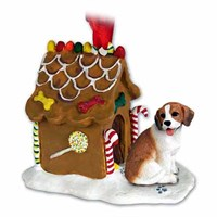 Beagle Christmas Ornament Gingerbread House